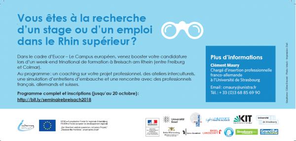 ... une simulation d entretiens d embauche et une rencontre avec des  professionnels français, allemands et suisses. Programme complet et  inscriptions ... 980c45534d7f
